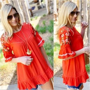 Coral Embroidered Detail Tunic